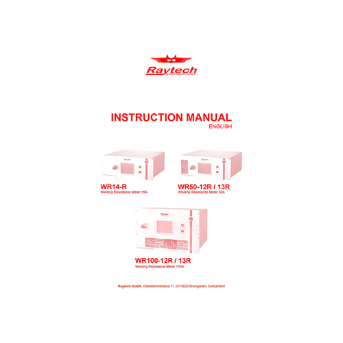 Instruction Manual - WR-14-R/WR-50-R/WR-100-R