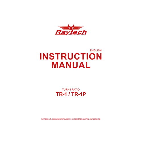 Instruction Manual - TR-1/TR-1P